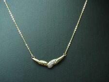 18kt 750 Gelbgold Collier mit Diamant Besatz / Halskette / 3,3g / 42 cm