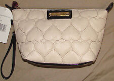Betsy Johnson Be Mine Bone trapezoid wristlet cosmo bag NWT