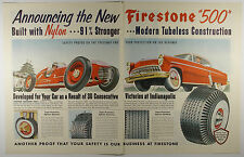 Vintage 1954 FIRESTONE 500 TIRES Large Full Page Magazine Print Ad: Automobile