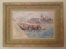 Tableau ancien Impressionniste Julien DURIEZ Péniches à Chalon sur Saône Huile