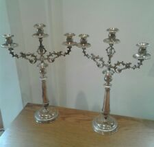 Pair of Solid Sterling Silver antique candelabra c1880