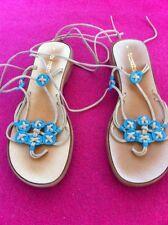 Sandals Boho Hippy Turquoise  Size 8 Lace Up