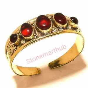 Garnet Bracelet Gemstone Bangle Cuff Tibetan Silver Brass Jewelry