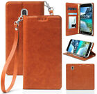 Brown Durable Wallet Case Stand Wrist Strap for Galaxy J3 Achieve/Star/J3V 2018