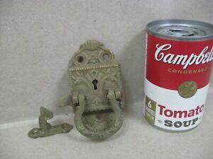 Antique Original Brass Cast Iron Pull Handle Door Lock & Catch Cabinet Furniture