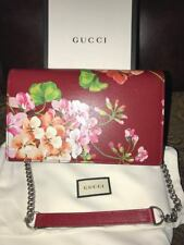 NIB GUCCI Shanghai Blooms WALLET ON CHAIN BAG PURSE RED Authentic MADE IN ITALY