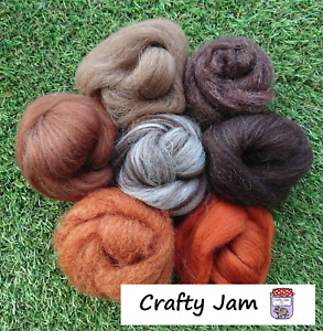 Felting Wool Brown Tones for needle/wet felting, spinning and 3D Projects 45g