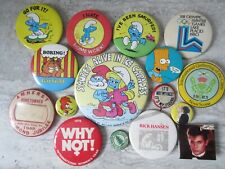 Lot of 16 Old 1970's-80's Pin Back Buttons Smurfs Simpsons Garfield Music Woody