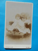 ORIGINAL OLD CDV  PHOTO FILLE ROTHIER REIMS SOEUR FAUTEUIL LITTLE GIRLS NINA