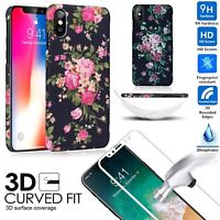 Fashion Flower Case+Full Tempered Glass for IPhone X 8 7 7Plus 6 6S Case Cover
