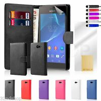WALLET LEATHER CASE COVER FOR Sony Xperia M2 SCREEN PROTECTOR