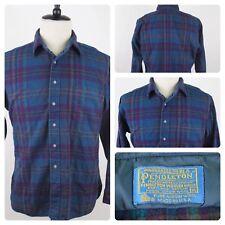 Vintage Pendleton Purple Turquoise Plaid Flanelle Long Sleeve Shirt 100% Wool XL