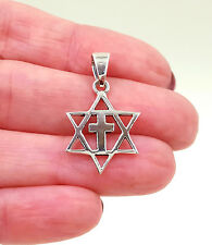 925 Sterling Silver MESSIANIC Pendant Necklace Star Of David With Cross 1 inch