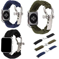 Outdoor Sports Woven Parachute Cord Band Strap For Apple Watch Series 4 3 2 1