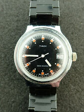 Vintage da Uomo Timex Nero Quadrante Automatico Orologio da Polso