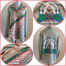 New listing 70s Psychedelic Train Station Polyester Disco Shirt Neon Novelty Print Brick Vtg