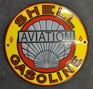 PLAQUE EMAILLEE SHELL AVIATION 20 cm enamel sign email