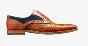 Mens Handmade Shoes Two Tone Tan Leather & Blue Suede Oxford Wingtip Formal Boot