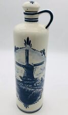 Vintage Delft Blue Holland Handwerk Windmill Decanter With Stopper Hand Painted