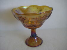 Vintage TALL AMBER CARNIVAL GLASS PEDESTAL BOWL GRAPES AND LEAF IRIDESCENT