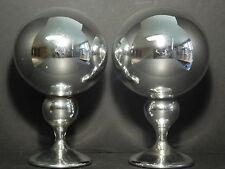PAIR Antique American Victorian Mercury Glass Buttler / Gazing Balls / Globes