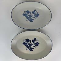 "Pfaltzgraff Yorktowne Two Oval Platters Plates #16 USA Meat Vegetable 10"" x 14"""