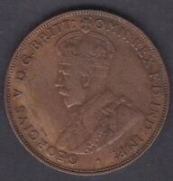 CB1444) Australia Genuine 1930 Penny in about VF condition. 6 pearls