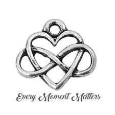 10 X Tibetan Silver Infinity Heart Forever 15mm Charms Pendants Beads