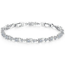 Brilliant Round Cut 4mm AAA Cubic Zirconia CZ Tennis Bracelet White Gold Plated