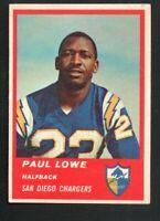 1963 Fleer Football Card #69 Paul Lowe-San Diego Chargers