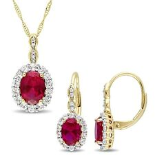 Amour 14k Yellow Gold Created Ruby White Topaz & Diamond Necklace & Earrings Set