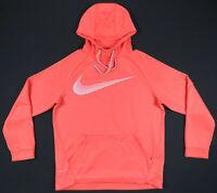Nike Dri Fit Orange Gray Swoosh Hooded Hoodie Pullover Sweatshirt Mens Jacket M