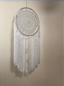 Beautiful Handmade Lace Dream Catcher (White)