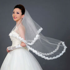 Fleur Lace Edge Mariée Longue Voile Accessoires de mariage Cathédrale Romantique