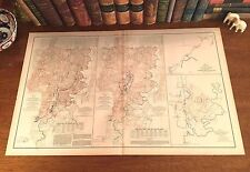 LARGE Original Antique Civil War Map BATTLE of CHICKAMAUGA Georgia ROSSVILLE GA