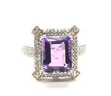 Sterling Two Tone  Emerald Cut Purple Amethyst X Accent CZ Cluster Cocktail Ring