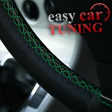 FOR VAUXHALL/OPEL CORSA D BLACK GENUINE LEATHER STEERING WHEEL COVER WITH GREEN