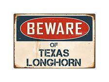 "Beware Of Texas Longhorn 8"" x 12"" Vintage Aluminum Retro Metal Sign VS412"