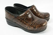 DANSKO Pro Professional Tooled Brown Leather Clog Paisley Shoes Women 38 - 7.5 8