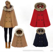 Women Winter Warm Shawl Cape with Faux Fur Woolen Batwings Cloak Outwear Coat