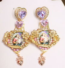 Zibellini  Madonna And a Child Lavender Earrings Studs