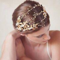 Crystal Tiara Pageants Wedding Bride Pearl Bridal Hair Rhinestone Crown Headband
