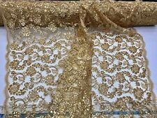 Gold Flowers Embroider With Sequins And Corded On A Mesh-Sold By Yard.