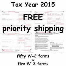50) W-2 Wage & Tax Statement 2015 IRS Tax Forms & 5) W-3 Transmittal Forms W2 W3