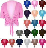 Womens Ladies Cap Sleeve Tie Up Front Cropped Bolero Shrug Cardigan 8 - 22