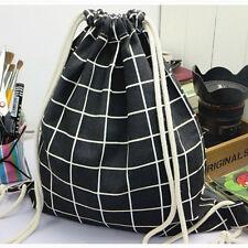 Cotton Linen Drawstring Backpack Travel Bag Student Book Bag Shoes Bag S