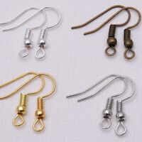 100PCs Earring Hook Ear Wire Coil DIY Jewelry Making Findings Accessories
