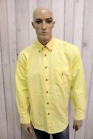 JECKERSON Taglia XL Camicia Uomo Cotone Shirt Giallo Chemise Casual Manica Lunga