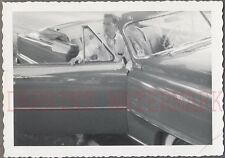 Vintage Car Photo Man in 1954 Plymouth Belvedere Convertible Automobile 734960