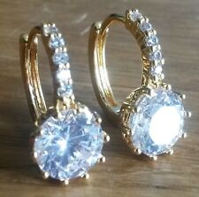 FH Plum UK white round sapphires 18ct yellow gold filled French hoop earrings